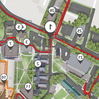 Thumbnail of an image of the drive-thru campus tour mobile application