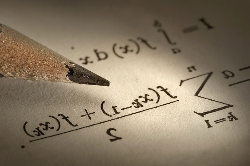 Mathematic equations on paper