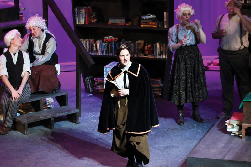 Student on-stage during a theater production