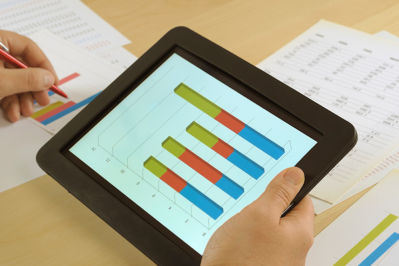 Financial charts on a tablet