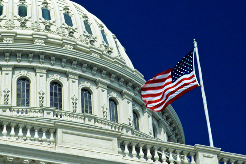 Flag flying above the U.S. Capitol