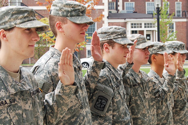 ROTC cadets taking a pledge